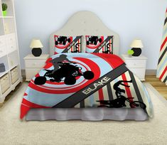 Motocross Comforter Dirt Bike Bedding by EloquentInnovations Dirt Bike Bedroom, Bike Room, Boys Sports Bedding, Kids Bedding Sets, Luxury Duvet Covers, Luxury Bedding, Kids Atv, Buy Bed, Luxurious Bedrooms