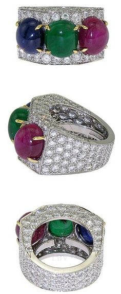 David Webb Platinum Pave Diamond Ruby Sapphire Emerald Ring | LBV ♥✤
