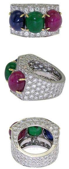 David Webb Platinum Pave Diamond Ruby Sapphire Emerald Ring   LBV ♥✤