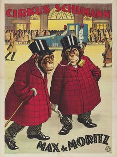 Two Chimps Max And Moritz Circus Poster