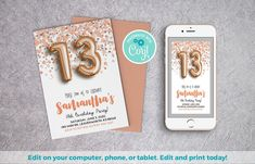 13th Birthday Invite | Rose Gold Invite, Balloon Invitation, Editable Template, 13th Rose Invite, 13 Rose Gold Invite, Gold Foil Balloon #13thBirthdayInvite #ConfettiInvite #GoldFoilBalloon #TeenPartyInvite #BalloonInvitation #13thBirthdayParty #TeenBirthdayInvite #SelfEditableInvite #ThirteenthBirthday #13thBirthday