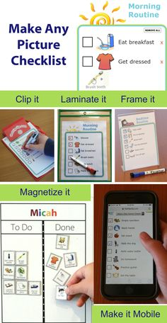 Choose from over 1000 images to make any picture checklist - perfect for a morning routine after school checklist or any list you need. Then print it laminate it frame it magnetize it or take it with you on your mobile phone. After School Checklist, Daily Checklist, Kids Routine Chart, Chore Chart Kids, Chore Charts, Kids Schedule, Age Appropriate Chores, Printable Activities For Kids, Travel Activities