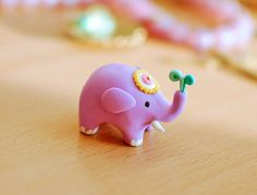 Polymer clay E is for Elephant