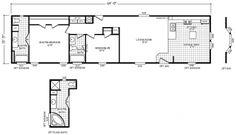 Single Wide 3 Bedroom 2 Bath Mobile Home Floor Plans Mobile Home Floor Plans, Modular Home Floor Plans, House Floor Plans, Fleetwood Homes, Manufactured Homes Floor Plans, Single Wide Mobile Homes, Clayton Homes, Modular Homes, Florida Home