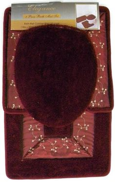 3Pcs Bathroom Mat Set - Burgundy Floral Embroidered Rug, Contour Mat  Lid Cover Set - List price: $39.99 Price: $28.44