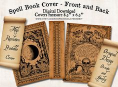 Witch Spell Book Cover Halloween Digital Download Printable Vintage Image Clip Art Scrapbook Collage Sheet on Etsy, 7,33 zł