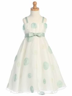 Sage Polka Dot Embroidered Organza A-Line Dress Style: Double spaghetti strap w/ ruffled organza bodice Irremovable sage waistband & bow Zipper w/ tie back sash closure Crinoline layer & lining within Tea length Swea Pea & Lilli Made in Green Flower Girl Dresses, Little Girl Dresses, Girls Dresses, Summer Dresses, Holiday Dresses, Special Occasion Dresses, Easter Dress, Baby Girl Fashion, Designer Wedding Dresses