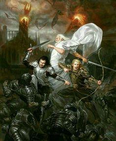 Sauron's Fall, Aragorn Gandalf and Legolas💥 Art by: Volkan Baga  Legolas, Gandalf, Thranduil, High Fantasy, Fantasy Art, Das Silmarillion, Film Anime, O Hobbit, J. R. R. Tolkien