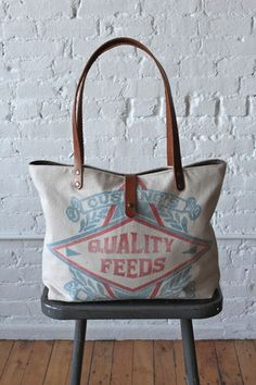 1950's era Feed Sack Tote Bag - forestbound.com - neat bags