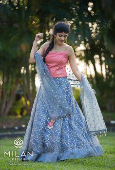 Milan offers a wide variety of Designer, Bridal & Wedding Sarees Online Kochi, Kerala, India. Lehenga Choli Wedding, Half Saree Lehenga, Lehnga Dress, Indian Bridal Lehenga, Lehenga Blouse, Anarkali, Bride Reception Dresses, Wedding Dresses For Girls, Girls Party Dress