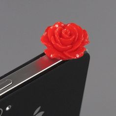 ZuGadgets 3.5mm Plug Red Rose Flower Earphone Jack Accessory Plug / Ear Cap / Anti-dust Plug /Dust Stopper for iPhone,S3,HTC,Mobile Phones with 3.5mm Jack (7756-26) by ZuGadgets (iPhone 4 / 4S)