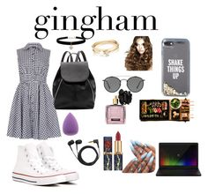 """Gingham"" by hanasalama ❤ liked on Polyvore featuring Izabel London, Converse, Witchery, Kate Spade, Ray-Ban, Razer, Sennheiser, Betsey Johnson, Loren Stewart and Victoria's Secret"