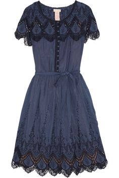 Collette by Collette Dinnigan|Ibiza embroidered cotton and silk-blend dress|NET-A-PORTER.COM