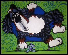 MAGGIE BRUDOS  bernese mountain Dog couch love by tangerinestudio