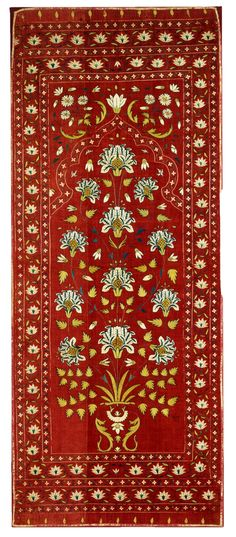 Silk embroidered cotton tent panel, India. Mughal, ca. 1700.