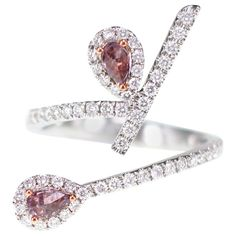 Pretty Tiny Pink Pear Cut Tourmaline With Shiny White CZ Amazing Design Band Pear Cut Engagement Rings, Diamond Gemstone, Cocktail Rings, Pink Diamonds, Modern, Heart Ring, Pure Products, Jewels, Gemstones