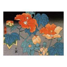 -hibiscus japanese woodblock art print by hiroshige ando hiroshige 1797 ...