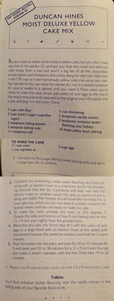 Duncan Hines Moist Deluxe Yellow Cake Mix  From:Top Secret Recipes Unlocked By Todd Wilbur