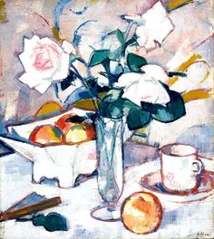The Athenaeum - Still Life with Roses and Fan (Samuel John Peploe - )