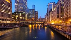 Chicago River after Sunset