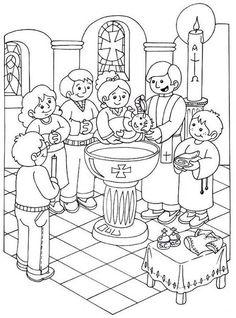 Catholic Baptism, Catholic Religious Education, Catholic Kids, School Coloring Pages, Bible Coloring Pages, Baptism Craft, 7 Sacraments, Bible Story Crafts, Religion Catolica