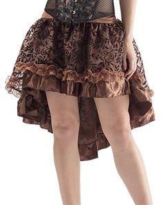 18bfa0164cc Y Fashion Womens Vintage Victorian Lace Asymmetrical Dress Skirt 31673-Brown -S