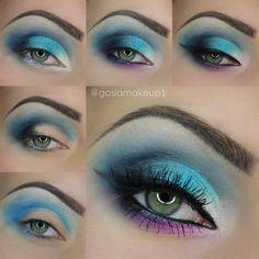 Aqua Blue Smokey Eyes with @gosiamakeup1    *VISIT SITE FOR FULL PRODUCT LIST + TUTORIAL*    #mua #makeup #makeuptutorial #eyes #greeneyes #howto #spring #summer #bright #blue #teal #smokey #smoky #glam #lashes #wingedeyeliner #brows