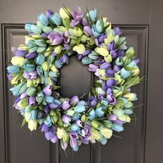 Your place to buy and sell all things handmade Tulip Wreath, Floral Wreath, Traditional Front Doors, Driftwood Wreath, Beautiful Front Doors, Blue Tulips, Summer Wreath, Spring Wreaths, Year Round Wreath