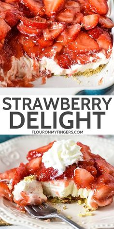 Simple and easy strawberry delight recipe with berries, cream cheese, whipped cream, powdered sugar, and a pecan crust Dreamy no bake dessert recipe! adventuresofmel strawberry nobakedesserts des is part of Strawberry dessert recipes - Strawberry Dessert Recipes, Healthy Dessert Recipes, Easy Desserts, Baking Recipes, Recipes With Strawberries, Desserts With Berries, Summer Dessert Recipes, Strawberry Yum Yum Recipe, Fruit Deserts Recipes