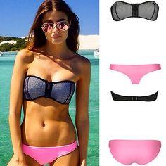 Sexy NEOPRENE Triangle BIKINI Set Strapless Push Up zipper Bra Swimwear Swimsuit