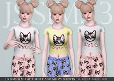 Meow T-shirt And Meow Shorts by JS Sims 3 - Free Sims 3 Clothing Downloads JS Sims3 Custom Content Caboodle - Best Sims3 Updates and Finds