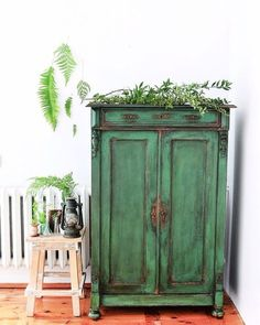 rustic furniture green chiffonier - french antique - one of a kind - emerald green - chippy look - patina - texture - aged look - rustic chippy - dresser - forestry chiffonier - new life - design furniture - Annie Sloan chalk paint - redesignbyagnieszka Furniture Diy, Furniture Projects, Rustic Furniture, Furniture Makeover, Painted Furniture, Furniture Inspiration, Vintage Furniture, Green Furniture, Beautiful Furniture