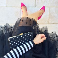 Space 46 Boutique polka dot black tulle skirt, striped sweater, White House/Black Market polka dot clutch and hot pink suede pumps ( datenight ootd outfit tulleskirt polkadots ) // StylishPetite.com