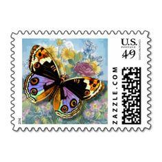 "Multi Vintage ""Beautiful Butterfly Postal Stamp"