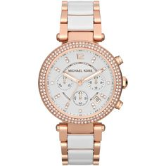 Michael Kors MK5774 Women's Parker Ceramic Chronograph Bracelet Strap... ($430) ❤ liked on Polyvore featuring jewelry, watches, bracelet watches, white strap watches, white ceramic watches, white wrist watch and rose gold bracelet