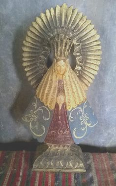 Antique Hand Carved Wood Polychrome Madonna Virgin Mary Religious Icon Statue. N.S. Soledad.