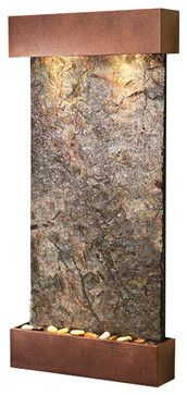 Whispering Creek Wall Fountain, Copper Vein, Solid Green Slate contemporary-indoor-fountains