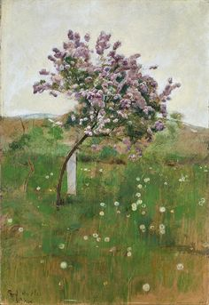 blastedheath:  Ferdinand Hodler (Swiss, 1853-1918), Fliederbäumchen [Lilac tree], 1892. Oil on canvas, 54 x 37 cm.