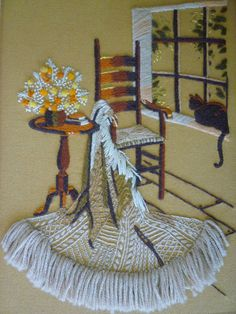 Vintage Original Embroidery/Needle/Craft Work Wall Art - Cat/Flowers/Chair