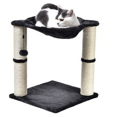 Elevated cat hammock with dual scratching post pillars Plush hammock provides a comfortable space for your cat to relax Helps keep your cat from damaging carpets, furniture, curtains, and Cat Tree Condo, Cat Condo, Large Cat Tree, Hammock Bed, Cat Scratching Post, Cat Scratcher, Cat Room, Kittens Playing, Cat Lovers