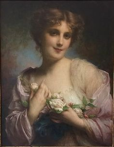"Etienne Adolph Piot (french, 1850-1910)- ""Young woman holding roses"""