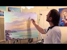 Igor Sakharov: sunset over sea (artist video tutorial painting drawing lesson)