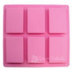 Molde para jabón casero, 6 pastillas rectangulares