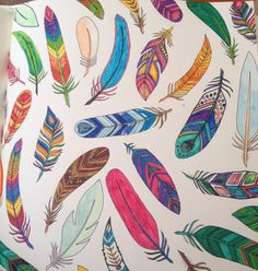 My enchanted forest colouring book ~ the feathers page