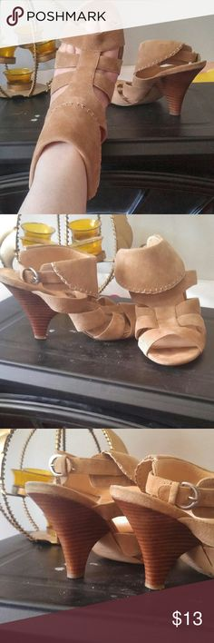 """ADORABLE Mine Wear Suede Sandals/Stacked Heels Super cute barely worn Nine West sandals/stacked heels size 71/2. Leather upper, pretty stitching and a 2"""" stacked heel that looks a lot higher! Nine West Shoes Heels"""