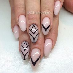 Nude pointy nails by @solinsnaglar