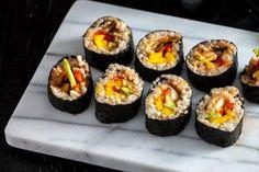Avocado, Mango & Kimchi Sushi Rolls -