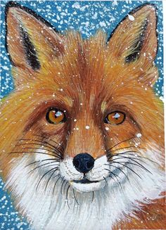ACEO FOX animal Art Original Painting drawing Acrylic portrait miniature card #Realism Fox Painting, Painting & Drawing, Fox Animal, Pet Fox, Best Portraits, Fox Art, Card Sizes, Painting Inspiration, Jackson