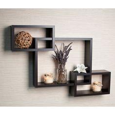 Laminate Intersecting Espresso Wall Shelf   Overstock.com