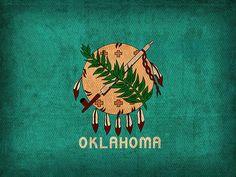 Oklahoma State Flag on Worn Canvas